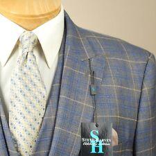 50L STEVE HARVEY 3 Piece Grey & Blue Check Suit - 50 Long - SB16