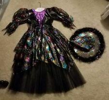 rainbow spider web witch costume Purple Black Large dress hat see description