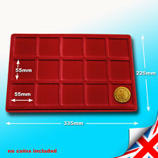 RED COIN TRAY P15 FOR COINS or MEDALS - COMPARTMENT SIZE 55x55 mm