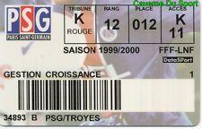 CARTE ABONNEE MATCH PARIS SAINT-GERMAIN PSG Vs ATAC TROYES 1-0 D1 # 31-07-1999
