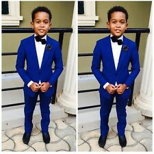 New Bespoke Page Boys Kids Wedding Tuxedos Royal Blue Babys Toddlers Party Suit