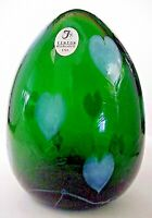 Fenton Blown Glass Emerald Green Hanging Hearts Dave Fetty Egg Special Order MIB