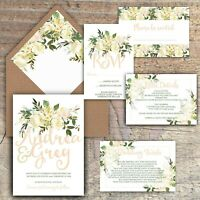 WEDDING INVITATIONS, Personalised Luxury Rustic PEACH & IVORY FLORAL packs of 10