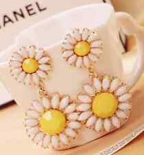 New Design Gold Pink Yellow Alloy Rhinestone Daisy Flower Stud Earrings Gift P58
