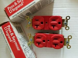 QTY-2 LEGRAND PASS AND SEYMOUR 5362 RED 20A 125V DUPLEX RECEPTACLE