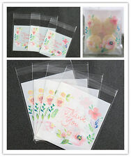flower pattern thank you Self Adhesive Seal packing bags Cake Candy Bag 100pcs