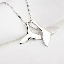Silver Lovely Dolphin Whale Fishtail Pendant Necklace For Women Jewelry Gift