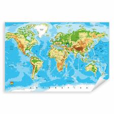 Postereck 0848 Poster Leinwand Detaillierte Weltkarte, Hauptstädte Länder