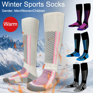 Mens Ladies Long Skiing Socks Thick Thermal Knee High Sports Sock Outdoor Winter