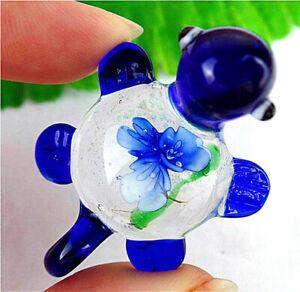 47x34x10mm Carved Blue Inlaid Lampwork Glass Tortoise Pendant Bead AP15113