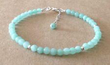 Amazzonite pietre preziose perle, argento sterling, con perline braccialetto dell'amicizia