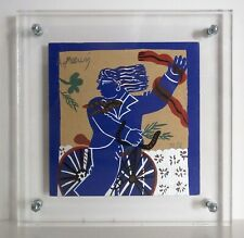 Silkscreen print by Alekos Fassianos in Plexiglass frame - Cyclist LIMITED to 10