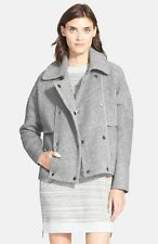 VINCE Gray Sherpa Double-Breasted Boucle Wool Peacoat Jacket, S NWT! $695