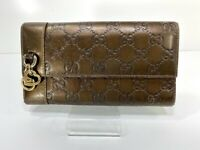 Auth GUCCI GG Guccissima Long Wallet Brown Italy Y1340