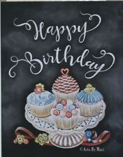 Handmade Birthday card cupcakes hand drawn with chalk next day free shipping!