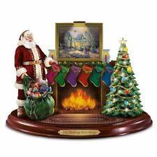 THOMAS KINKADE Große Spieluhr Weihnachtsmann am Kamin befüllt Strümpfe - NEU!!!