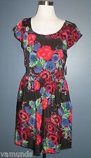 ANGIE Crossover Size XL Black Red Floral Summer Dress w/ Lace Back