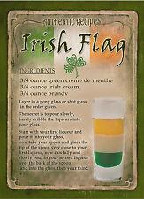 Bandera irlandesa Cóctel Receta, Cafe pub, caseta de hombre, decoración del hogar: Letrero De Metal Regalo