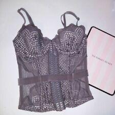 Victoria Secret Lingerie Bustier Corset Boned Taupe Lined Cups Lace Sheer