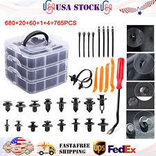 765 Pcs Car Nylon Retainer Auto Fasteners Push Trim Clips Pin Rivet Bumper Kit