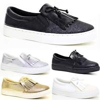 Ladies Womens Flat Slip On Sneakers Loafer Pumps Skate Fashion Trainers Shoes