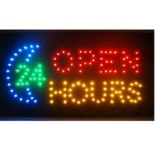 Flashing Motion LED Business 24-hour hours Open SIGN +On/Off Switch Light Neon