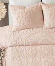 BLUSH PINK CHENILLE 3p Queen COVERLET SET : VINTAGE STYLE LAETITIA COTTON FRINGE
