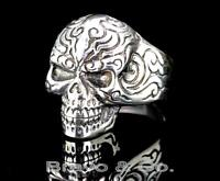 SIZE 11 Hallmark 925 Sterling Silver New Motorcycles BIKER Skull Men Ring R-247