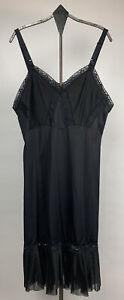Vtg Kayser Womens Full Slip Nylon Lace Chiffon Accordian Hem Black USA Size 36