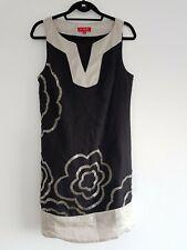 DERHY medium 10 12 Linen Mix Beaded Dress Black Silver Tunic Sleeveless