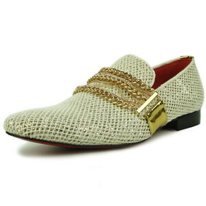 FI-7475 White Gold Slip on Loafer With Gold Chain Fiesso by Aurelio Garcia