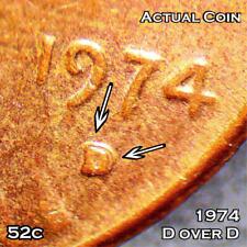 #52 - 1974 D over D - Lincoln Penny Error Coin D/D