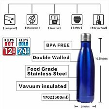 Insulated Water Bottle Double Wall Stainless Steel 17 oz KEEP COLD UP TO 24H