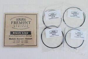 Fremont Blackline Fluorocarbon Ukulele Strings Soprano Concert Medium Set