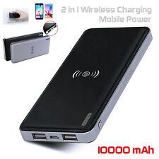 10000mAh 2in1 Universal Wireless Charger Pad Portable USB Power Bank For Samsung