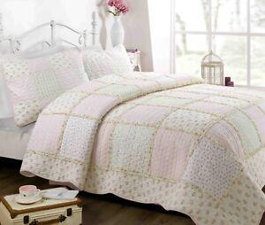 Forville Pink&Coral Real Patchwork 100%Cotton Quilt Set, Bedspread, Coverlet
