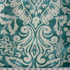 Drapery Upholstery Fabric Cotton Slub Mottled Linen-Look Floral Damask - Teal