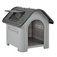 [en.casa]® Hundehütte 87x72x76cm Grau/Schwarz Unterschlupf Hundehaus Kunststoff