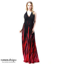 PLUS SIZE Bohemian Print Backless Halter Maxi Evening Dress 18 20 22 24 (pld13)