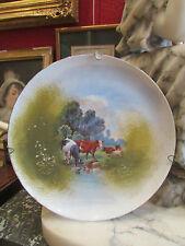 ancienne assiette decorative porcelaine peinte limoges decor troupeau de vaches