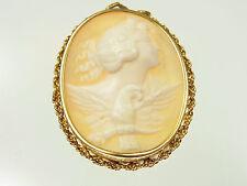 Schöner Kamee Anhänger 585 Gelbgold mit  antiker Frauenansicht mit Vogel um 1900