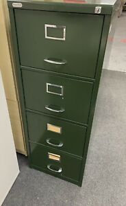 Vintage 1960s Metal Filing Cabinet With Key