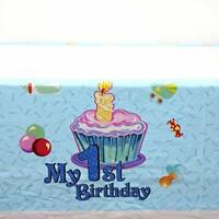 AEX Birthday Disposable Tablecloth Cover Party Tableware (1st Bday Cake Blue)