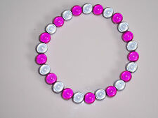 Pink/Grey Miracle Bead Stretch Bracelet Fashion Jools Handmade