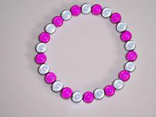 Pink/grey Milagro Bead Stretch Pulsera Moda Jools Hecho A Mano