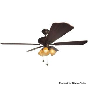 Hampton Bay Glendale 52 in. LED Indoor Oil-Rubbed Bronze Ceiling Fan with Light