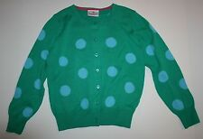 NUEVO Hanna ANDERSSON Verde Azul con lunares Cárdigan botón Suéter,talla 120 6 7