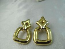 Vintage CHUNKY GOLD DOORKNOCKER STYLE EARRINGS, Shiny, Detailed