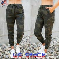 Women Camo Print Harem Pants Casual Camouflage Jogger Trouser Stretchy Slacks US