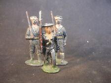 Old Vtg Military Soldier Navy LOT of 3 Figures W/Rifle Gun Toy Train Garden